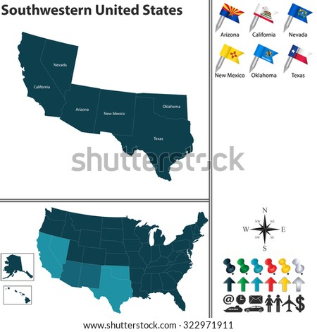 Vector set of Southwestern United States with flags and map on white background - stock vector