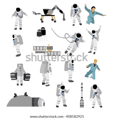 Vector set of space icons in flat style isolated on white background. Astronauts in Space suit, moon space station, rocket, moon rover. - stock vector