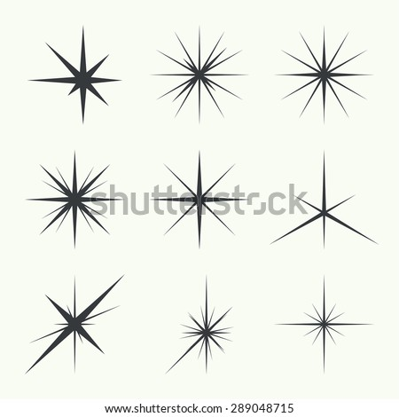 Vector set of sparkle lights stars. Stars with rays, explosion, fireworks. - stock vector