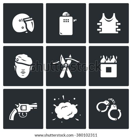 Vector Set of Special Forces Icons. Uniform, Soldier, Sabotage, Obstacle, Course, Weapon, Undermining, Arrest. Helmet, Shield, Body armor, Man, Cutters, Burning Wall, Revolver, Explosion, Handcuffs - stock vector