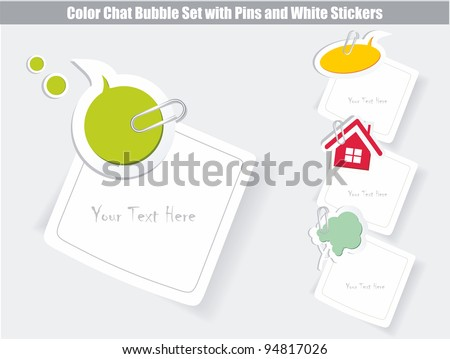 vector set of speech bubbles & white stickers - stock vector