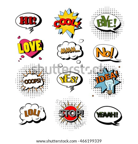 Vector set of speech bubbles with text. Illustration in pop art style. Design elements, text clouds, message templates.