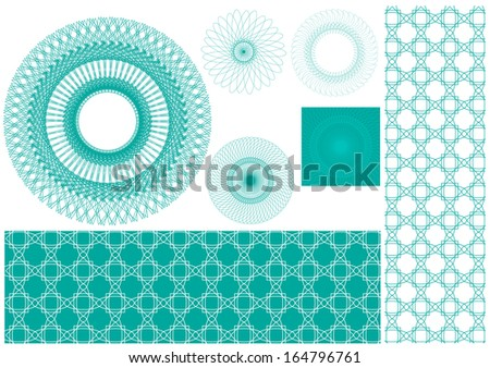 Vector set of spirographs background for certificates, coupons, vouchers, posters, tickets or cards - stock vector