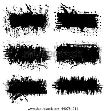 Vector set of 6 splash black brush strokes or banners. Grunge  easy editable isolated elements for your design. Freehand. Watercolor splash. Monochrome acrylic stamp.Space for text. - stock vector