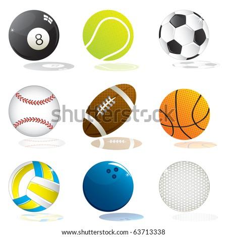Vector set of sport balls - stock vector
