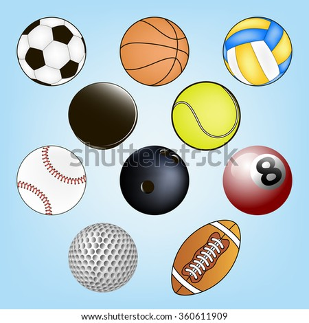 vector set of sport balls on a pure background