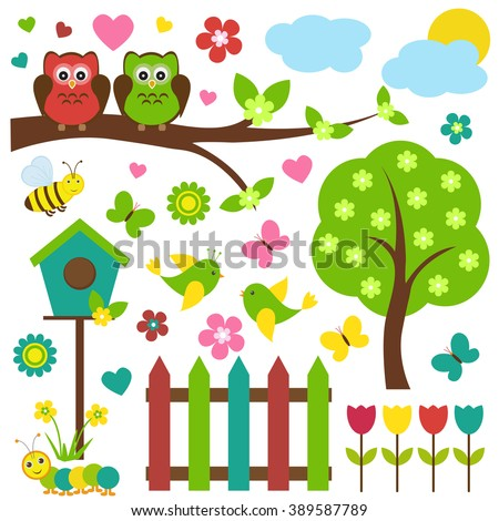 Vector set of spring theme. Birds sitting on blooming tree, among flowers and insects.Made in bright spring colors.