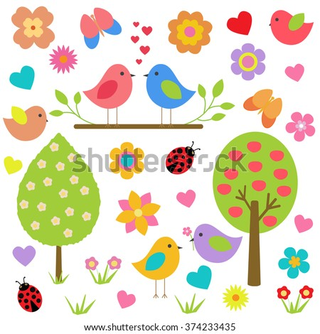 Vector set of spring theme. Spring nature, trees, flowers, love birds, butterflies, ladybugs