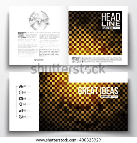 Vector set of square design brochure template. Abstract polygonal background, modern stylish square design golden vector texture. - stock vector