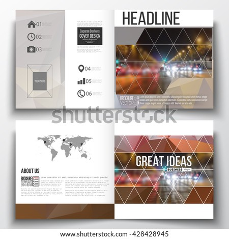 Vector set of square design brochure template. Dark polygonal background, blurred image, night city landscape, car traffic, modern triangular texture.