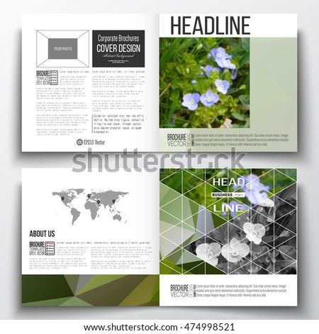 Vector set of square design brochure template. Polygonal floral background, blurred image, blue flowers in green grass closeup, modern triangular texture