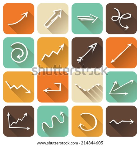 Vector set of square flat icons with long shadow. Various arrows pictograms isolated on white background. - stock vector