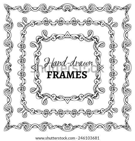 Vector set of square vintage frames. Decorative elements. Angle design. - stock vector