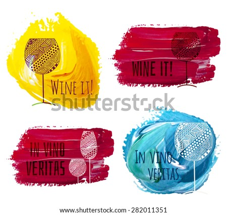 Vector set of stains with wine and champagne glasses made with vintage ornaments. - stock vector