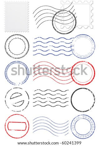 Vector set of stamps and postmarks. All vector objects are isolated. Colors and transparent background color are easy to adjust.