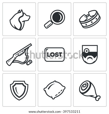Vector Set of Stray Dogs Icons. Pooch, Search, Capture. Shooting, Loss, Veterinary, Zoo protection, Asleep, Food. Homeless street animals and their catch. Isolated symbols on a white background - stock vector