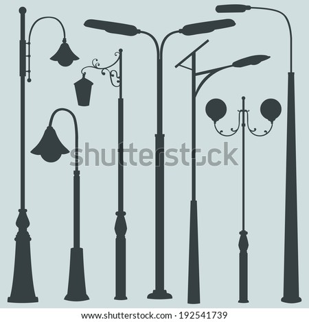 Vector Set of Street Lights Silhouettes - stock vector