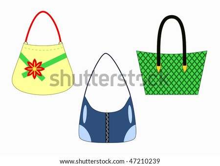 vector set of stylish female handbags isolated on white background - stock vector