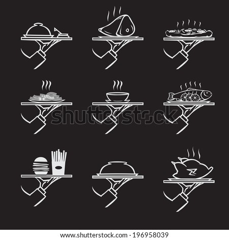 vector set of stylish hand drawn waiter with a tray,first course icon set isolated on black background - stock vector