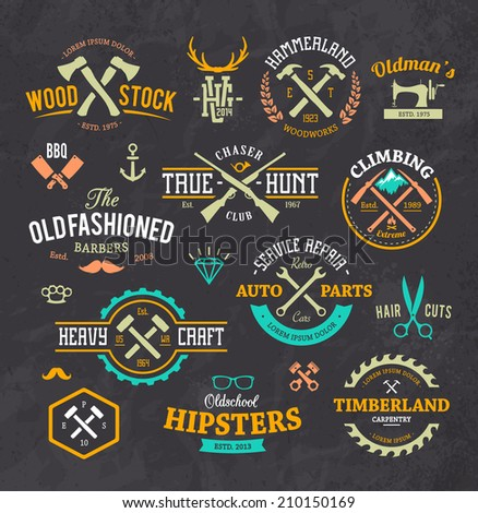 Vector set of stylish retro emblems, symbols and design elements.  - stock vector