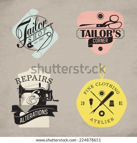 Vector set of stylish tailor shop, cloth repair and alteration shop and atelier insignia | Retro looking stylish dressmaking shop emblems on natural color craft paper background - stock vector