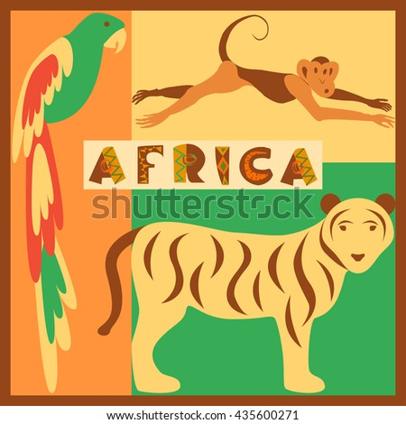 Vector set of stylized African animals in the jungle - parrot, tiger, monkey. Modern flat design. Perfect promotional flyer, booklets and articles. Hand drawn lettering. Vector eps10 illustration - stock vector
