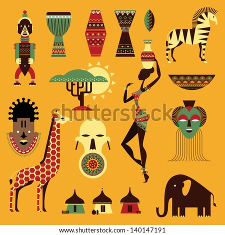 Vector set of stylized african icons - stock vector