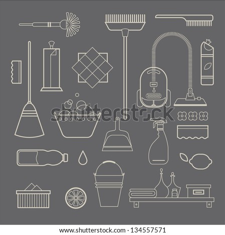 Vector set of stylized cleaning tools icons - stock vector