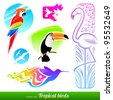 Vector set of stylized decorative tropical birds - stock photo