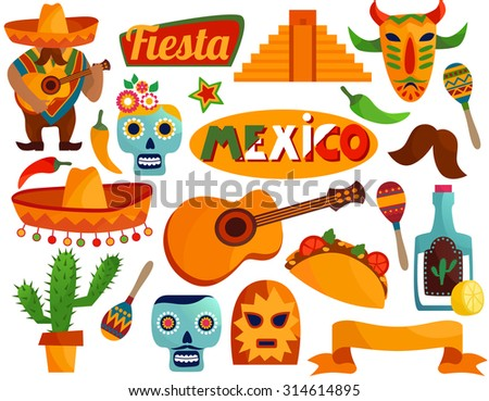 Vector set of stylized Mexico elements and icons. 3D illustration. - stock vector