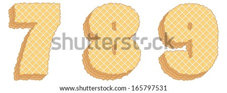 Vector set of stylized symbols consisting of stacked layers of wafers with cream inside.  Numerals 7, 8, 9 isolated on white background - stock vector