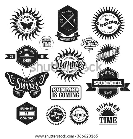 Vector Set of Summer typographic retro labels and vintage badges. Grunge effect in separate layer. - stock vector
