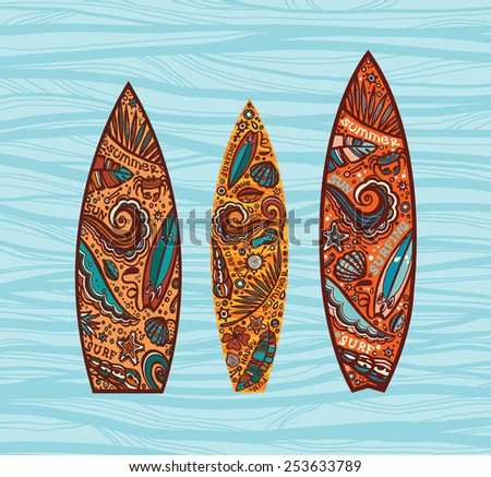 Vector set of surfboards. Image on a boards with elements of surfing.