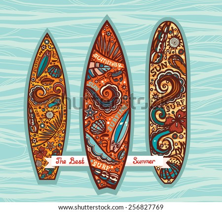 Vector set of surfboards on a blue decoration background. Image on a boards with elements of surfing.  - stock vector