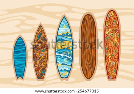 Vector set of surfboards on a brown background. Some image on a boards with elements of surfing. - stock vector