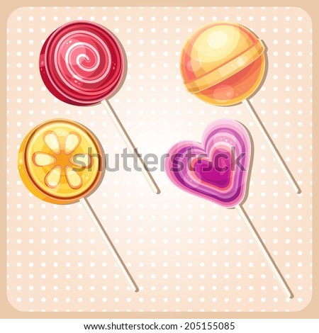 Vector set of sweet bright colorful lollipops