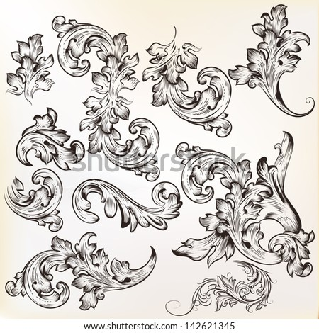 Vector set of swirl vintage ornaments for design - stock vector