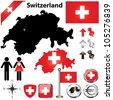 Vector set of Switzerland country shape with flags, wind rose and icons isolated on white background - stock photo