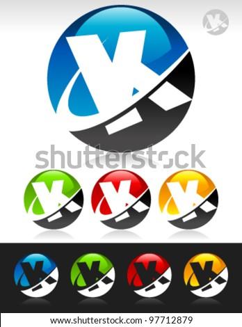 Vector set of swoosh K logo icons - stock vector