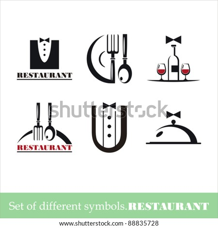 vector set of symbols for a restaurant - stock vector