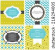 Vector set of tags, labels, postcards templates in contrast colors  - stock vector