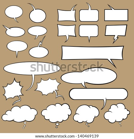 Vector set of talk and think bubbles - stock vector