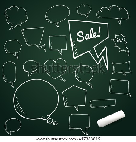 Vector set of talk and think bubbles with chalk, group of blackdoodle speech bubles on chalkboard - stock vector