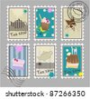 Vector set of tea and dessert stamps - stock vector