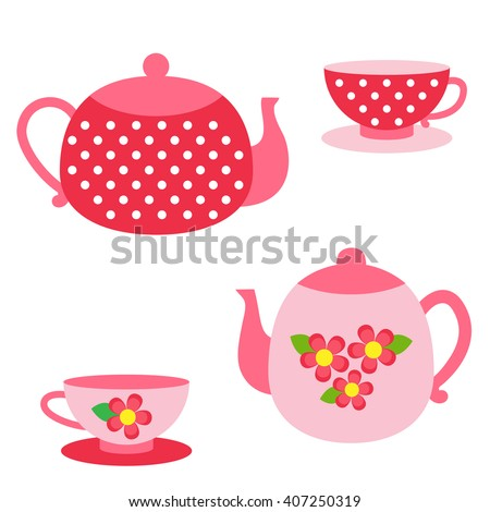 Vector set of tea pots and cups in  red and pink colors - stock vector