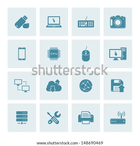 Vector set of 16 technology icons - stock vector