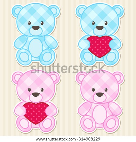 Vector set of teddy bears for boys and girls in blue and pink colors - stock vector
