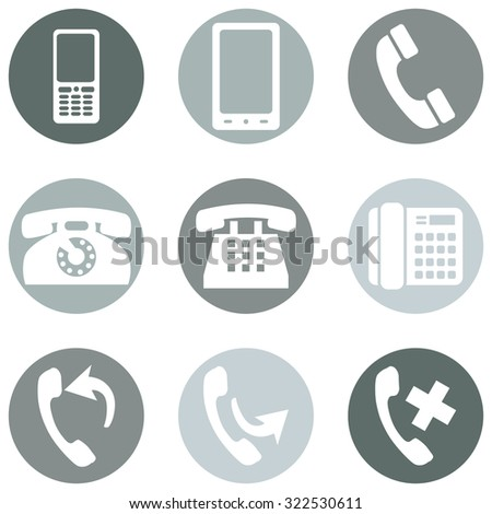 Vector Set of Telephone Icons - stock vector
