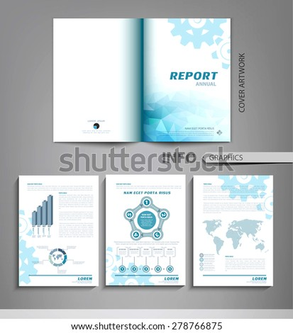 vector set of templates for business reports, advertising, with graphs, tables and other elements - stock vector