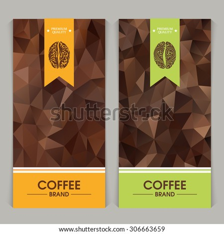 Vector set of templates packaging coffee, label, banner, poster, identity, branding. Abstract color background with ornamental design elements - coffee bean.  - stock vector